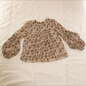 Beaded Pattern Ballon Sleeve Blouse